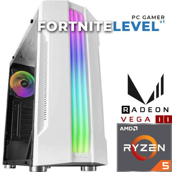 Pc Gamer Fortnite Level v1 (Blanche) - AMD RYZEN™ 5 - 8GB - 256SSD - RADEON VEGA 11